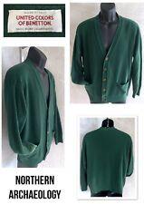 Vtg Colors Of Benetton Shetland Wool Cardigan Button Men Grandpa Sweater Green M