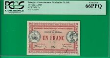 Senegal franc 1917, P2b, Pcgs*66*Ppq Gem New, ties only one other on Pmg report!