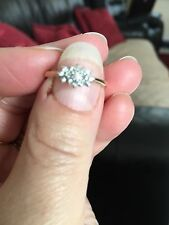 9ct Gold Diamond Cluster Ring Size N 2.2g