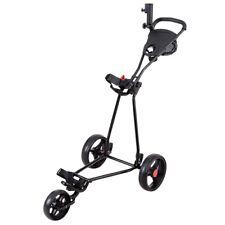 Golf Push/Pull Cart Three Wheel Trolley Scorecard Drink Holder Mesh storage Bag