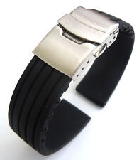 Deployment Buckle 20mm Silicone Rubber Waterproof Watch Strap
