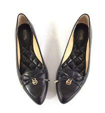 Michael Kors Women's Nancy Flat Pointed Toe Leather Flats Bow Logo Black Size 7