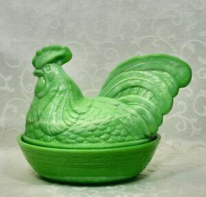 Fenton, Rooster Box, Chameleon Green Glass.