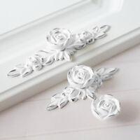 Flower Dresser Drawer Pull Handles Creamy White Rose knob Kitchen Cabinet Handle