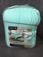 YOUR ZONE T/Txl TWIN 2 PIECE COMFORTER & SHAM SET. MINT RUCHED M80A