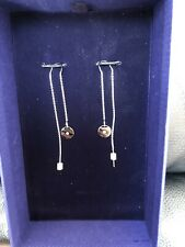 Swarovski Crystal Disc Chain Threader Earrings Rhodium Plated 5548108