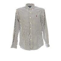 Polo Ralph Lauren Langarmhemd Gr. M Herren Shirt Gestreift Baumwolle Custom Fit