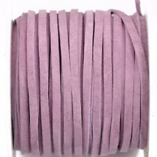 """25yd 1/8"""" Flat Suede Leather Lace, Lilac Purple, Realeather 3mm, Lth0026"""