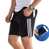 Mens Workout Shorts with Zipper Pockets Elastic Waist Beach Running Jogging Wear