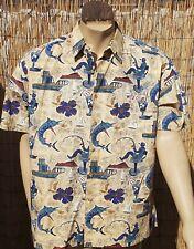 Kahala Avi Collection Hawaiian Camp Shirt XL Cocktails Marlin Fishing Boats