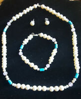 Genuine Sterling Silver Cultured Pearl, Turquoise Necklace, Bracelet Earring Set