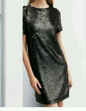 BNWT NEXT Black Silver Grey All Over Sequin Shift Dress Size 10 tall  Rrp£50