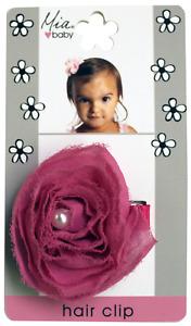 Mia Baby + Girl, Chiffon Rosette Hair Clip w White Pearl Center, 1 pc