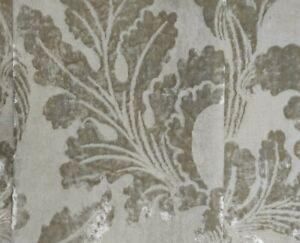 Osborne & Little Velvet Damask Fabric Ivory Soft White Cream 142cmW X 47cmL