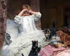 "Arthur Elsley, Surprised, Cat, girl, antique decor, Victorian, 14""x11"" Art Print"