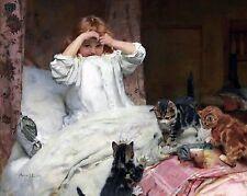 "Arthur Elsley, Surprised, Cat, girl, antique decor, Victorian, 14""x11"" Art Print"