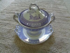 1820 purple transferware tureen cover stand saucer classical vases Etruscan
