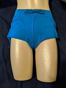 Juniors Women's OP Knit Elastic Waist Blue Shorts M (7-9) Booty Boy Rouched side