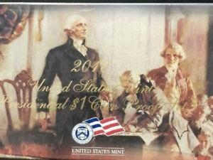 BU 2010 S Presidential Dollar Proof Set 4 Coins Original Box & COA Golden dollar
