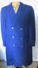 Vintage Air Force Blue Polyester Wool Gabardine Coat Double Breasted 41S C44