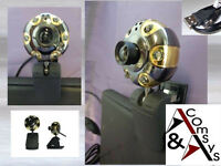 Web Cam Camera Webcam 6LED Mikrofon Clip 30MPixel USB MSN Skype Metall Gold Y215
