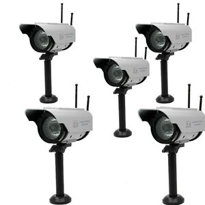 5X Fake Dummy Solar Power Security CCTV Camera Cam Red Blinking LED W/2 Antennas