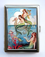 Mermaid Seahorses Cigarette Case Wallet Business Card Holder nautical fantasy