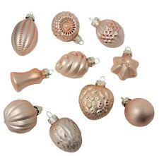 Elegant Art Glass Peach Pink Mini Ornament Set 10 Old Fashioned Christmas Small