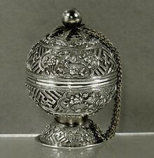 Chinese Export Silver Spice Box                       c1890 SEA LIFE