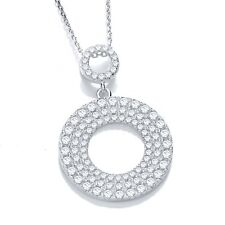 J JAZ Elsie Sterling Silver Twin Disc Shaped Cubic Zirconia Pendant Necklace