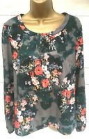Laura Ashley Green Grey Floral Top Long Sleeve Top UK 12