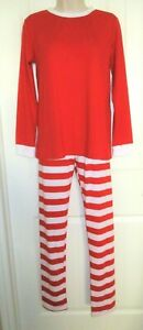 Red & White Striped Slim-Fit Christmas Pajamas, Mom, Jr. L, Poly/Cotton, NWOT