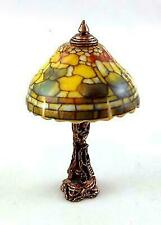 Fruit Motif Tiffany Style Non-electric Dollhouse Miniature Table Lamp by Reutter