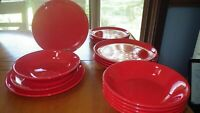 Red Dinnerware Set Service for 6 Dinner Luncheon Made in France EUC 18 piece