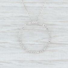 "Diamond Eternity Circle Pendant 14k White Gold 16.25"" Cable Chain"