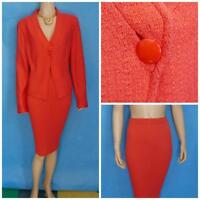 ST. JOHN COLLECTION KNITS CORAL Orange Jacket Skirt L 14 12 2pc Suit Button