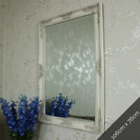 Ornate cream wall mounted mirror shabby vintage chic bedroom hallway bathroom