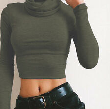 Women Long Sleeve Turtleneck Casual Slim Tops Knit Sweater Short Winter Blouse