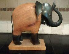 "Decorative Wooden & Iron Metal Elephant Figurine Statue on Wooden Base 12"""