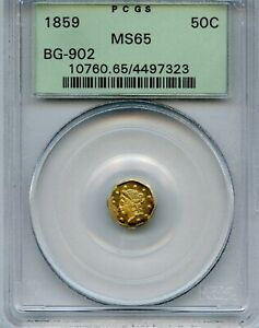 1859 CA Fractional Gold Oct 50c Liberty-Wreath BG-902.  PCGS MS65 OGH.  LR4