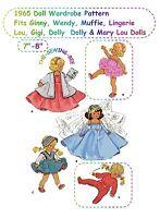 "1965 Doll Pattern Wardrobe Fits Ginny, Wendy, Muffie Dolls 7-8"""