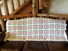 "Lg Crochet Afghan Blanket White Pink Roses 76"" x 65"" Queen Full Twin Sofa Throw"
