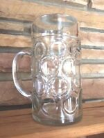 Vintage Heavy Thick Glass Stein 1 Liter Marked Austria Barware