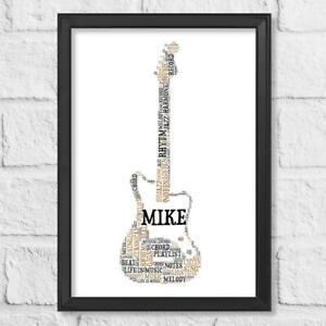 Personalised Electric Guitar Gift Word Art Birthday Print Present