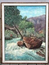 """40"""", 1959 Clarence ELLSWORTH Oil Canvas Fisherman Fishing Landscape PAINTING"""