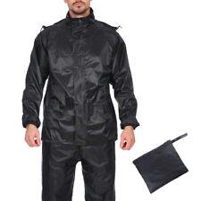 Mens Waterproof Motorcycle Biker Raincoat Lightweight Jackets & Trousers Hooded