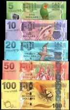 "SET""FIJI 5 10 20 50 100 DOLLARS ""2013 New""BIRD TURTLE""GEM UNC""BANKNOTES ""RAREST"""