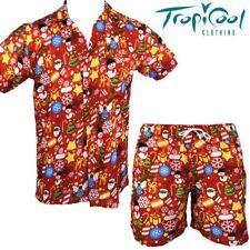 Festive Christmas Celebrations Men Hawaiian Shirt & Shorts Set Red