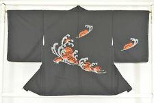 Vintage Japanese Ladies' Black Kimono Haori Jacket 'Waves, Wheels & Flowers' M/L