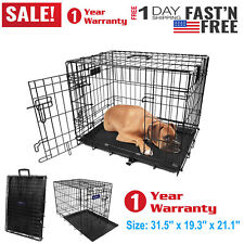 "30"" Dog Crate  w/Divide w/Tray Fold Metal Pet Cage Kennel House for Animal USA"